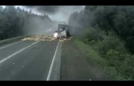 Burning Truck Crash On Highway