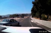 DUMB ASS CRASHES TRYING TO PASS TRUCK AND TRAILER
