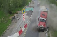 Trucker hates roadworks