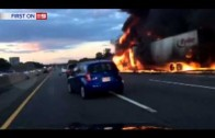 RAW: Driver barely escapes from truck fire in New Jersey