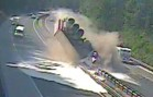 Semi Truck's Tire Explodes While Driving On The Highway