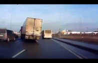 Truck avoids crash on slippery road in daredevil tactic