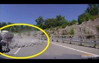 Car hit by rocks falling from speeding truck in Sochi, Russia
