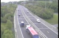 Truck accident caught on police camera Motorway M621