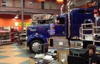 Big trucks hauling oversized load