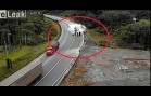 Trucks Fail to Negotiate Dangerous Bend in Road