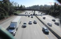 Cars & Trucks Driving on Interstate Highway Fwy Underneath Freeway Overpass | HD Stock Video Footage