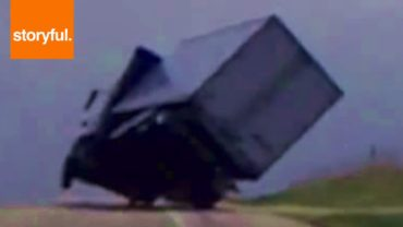 Truck Almost Flipped By Storm Winds