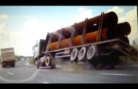 Big trucks hauling oversized load