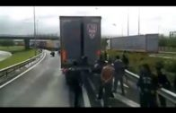 Illegal immigrants and truck drivers in Calais