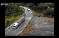 Truck turns around in curve in Brazil