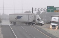 HD Tractor-trailer wreck and Texas icy slides caught on camera – January 24, 2014
