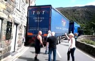 Articulated Lorry Stuck against house in Beddgelert