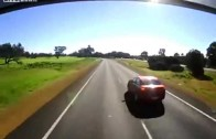 Car Brake Checks Truck and Pays the Price