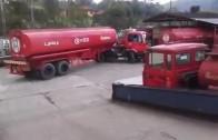 Fuel Truck Driver Makes a Crazy Sharp U-Turn
