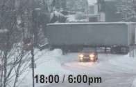 TRUCKS on a HILL – How an icy hill ruins a German trucker's day………
