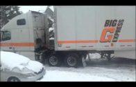 Truck Stuck in Snow Outside Guppy's