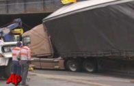 Semi-Truck Gets Stuck Under Bridge