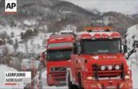 Trucks go over cliff in Norway